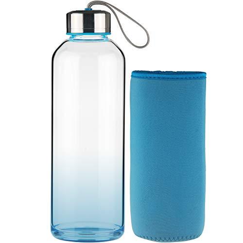 FCSDETAIL Botella de Agua de Cristal, Botella de Agua de Vidrio de Borosilicato con Funda de...