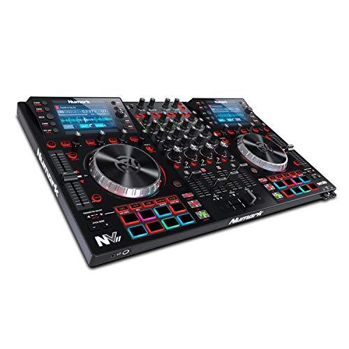 Numark NVII - Controlador de DJ profesional de Doble Pantalla de alta resolución y 4 Decks para...