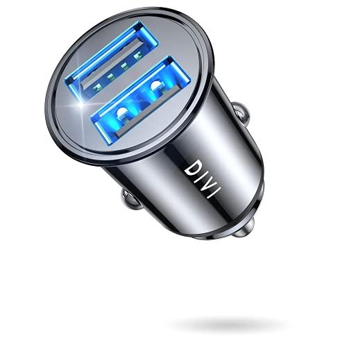 DIVI Cargador de Coche con Doble USB Puerto Cargador Móvil 5V/4.8A/24W, Adaptador Automóvil con...