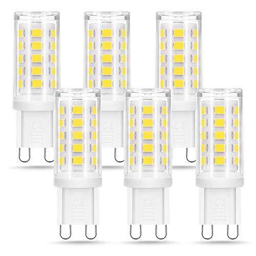 Bombilla LED G9 de 5W Equivalente a 40W Lampara Halógena, 6000k, 400LM, No regulable, Sin parpadeo,...