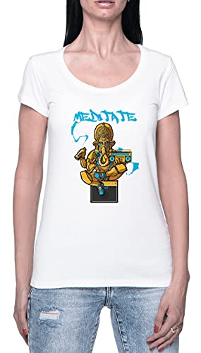 Ganesh Meditation Camiseta para Mujer Blanca De Manga Corta Ligera Informal con Cuello Redondo...