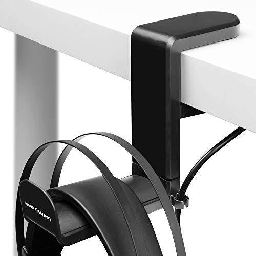 Mars Gaming MHH Negro, Soporte Auriculares Tipo Pinza, Ajustable, Rotación 360º