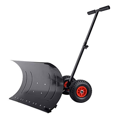 Uisbert - Pala quitanieves con ruedas, altura regulable en 5 posiciones, 75 cm de ancho de trabajo,...