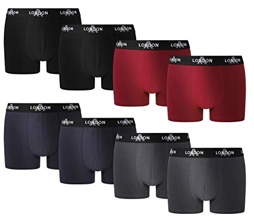 FM London Fitted Boxer, Azul (Dark Assorted 03), Small (Pack de 8) para Hombre