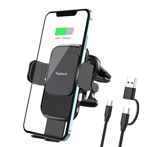yootech Cargador Inlámbrico Coche,Soporte Móvil Qi Wireless Car Charger con Cable USB A+C a Tipo C...