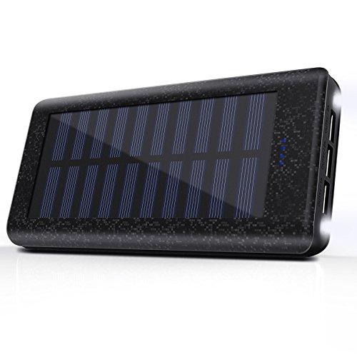 Cargador Solar 24000 mAh Batería Externa, 3 Puertos USB, 2 LED Ligeros, Power Bank del Movil...