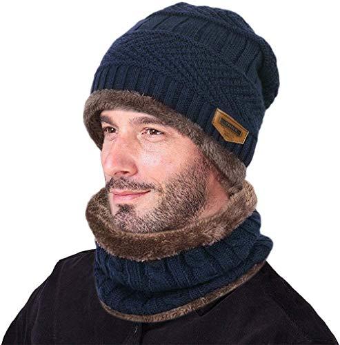 Gorro de Punto cálido y Bufanda Circular, Gorro de Punto de Invierno, Gorro de esquí Gorro de...