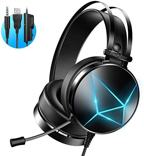 Auriculares Gaming, PeohZarr Auriculares Gaming PS4 PS5 Estéreo con Micrófono Cascos Gaming 3.5mm...