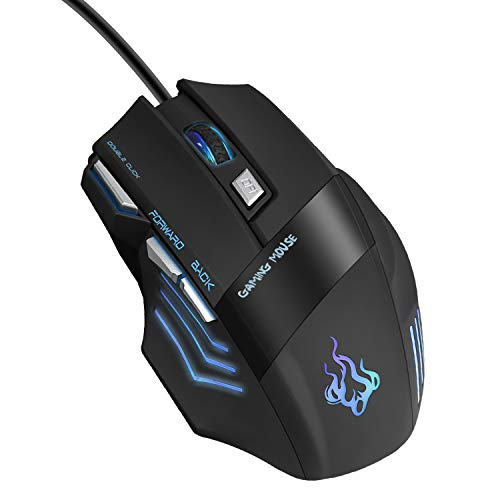 QueenDer Ratón Gaming, Ratones Gaming Profesional con Cable USB Gaming Mouse Óptico, 4 dpi...