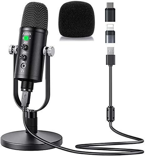 Micrófono USB, Aveek Condensador grabación micrófono con Silencio y Eco para Ordenador portátil,...