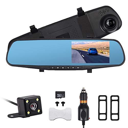 AUTOUTLET 4.3 '' HD 1080P Dual Lens DVR para Coche Mirror Dash CAM Recorder con 32G Tarjeta de...