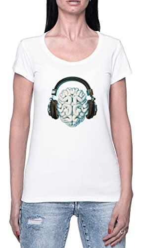 Brain Music Camiseta para Mujer Blanca De Manga Corta Ligera Informal con Cuello Redondo Women's...