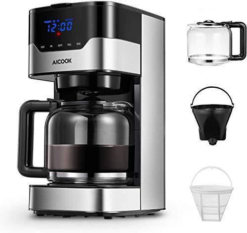 Cafetera Aicook Cafetera Goteo para 12 Tazascon con Temporizador Programable, Máquina de Café con...