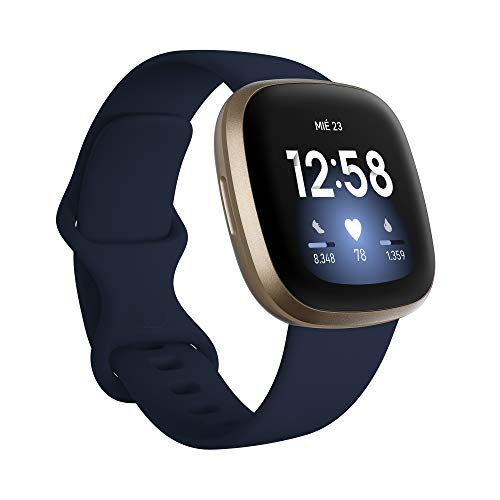 Fitbit Versa 3 - Smartwatch de salud y forma física con GPS integrado, análisis continuo de la...
