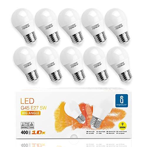 Aigostar -10 x Bombilla LED E27, Casquillo gordo 5W, Bajo consumo, 400lm, Luz calida 3000K, Ahorro...