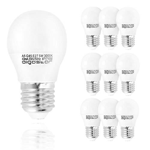 Aigostar - Bombilla LED A5 G45, E27, 5 W equivalente a 35 W, 400lm, Luz calida 3000K, no regulable -...