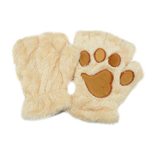 Tinksky Las mujeres de invierno lindo gato garra perro pata mitones de felpa cortos guantes sin...