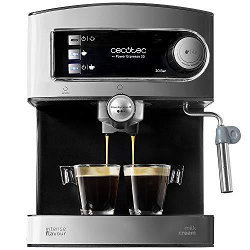 Cecotec Cafetera Express Manual Power Espresso 20. 850W, Presión 20 Bares, Depósito de 1,5L, Brazo...