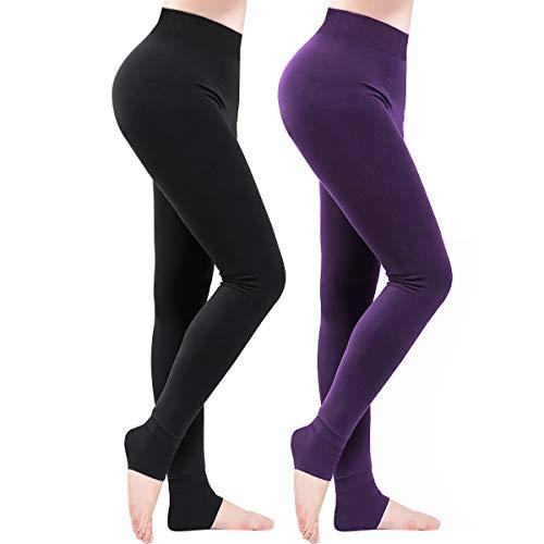 Weeygo 2 Pares Leggings para Mujer, Cálidas de Invierno Pantalones de Talle, Elásticos Cintura...