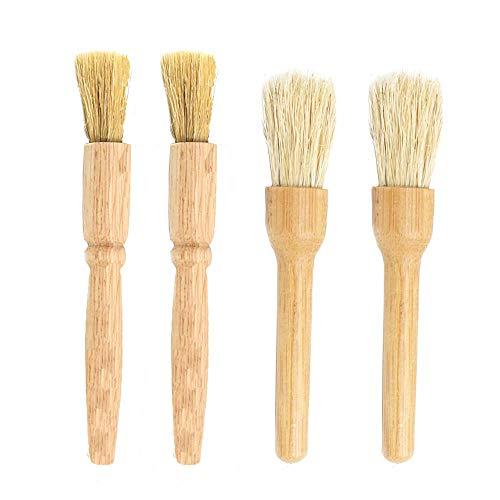 4 Piezas Cepillo de Limpieza para Molinillo de Café, Bambú/Madera de Caucho y Cerdas Naturales -...