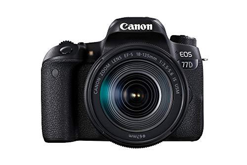 Canon EOS 77D - Cámara réflex de 24.2 MP (vídeo Full HD, WiFi, Bluetooth) color negro - kit...