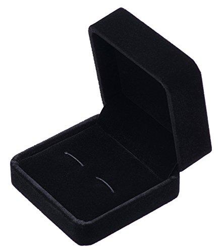 POLOFO Gemelos pequeñas oscuro terciopelo clásico caja (negro)