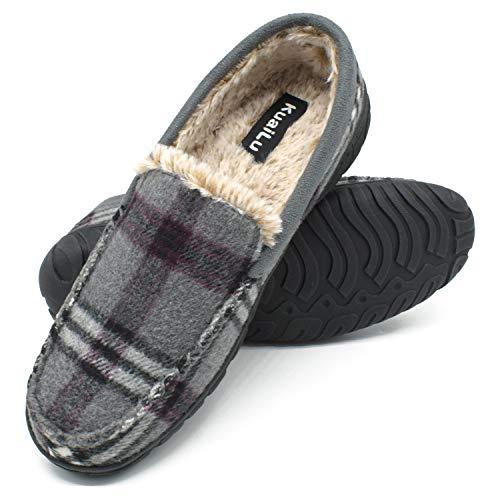 KuaiLu Zapatillas de Estar En Casa Hombre Invierno Cálido Forro de Felpa Zapatillas de Moccasin...