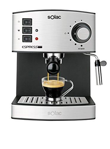 Solac CE4480 Espresso-Cafetera de 19 Bares con vaporizador, 850 W, 1.25 litros, 0 Decibeles, Acero...