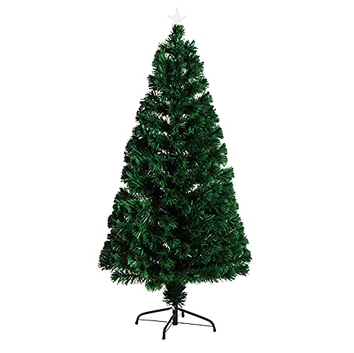 HOMCOM Árbol de Navidad 150cm Artificial Árboles de Abeto con Soporte Fibra Óptica Brillante LED...