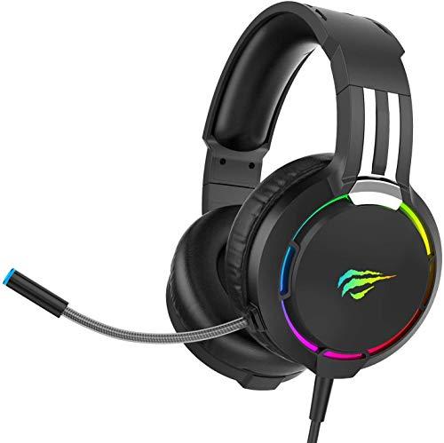 Auriculares Gaming PS4 HAVIT Iluminación RGB Cascos Gaming Sonido Envolvente, Controlador de 50MM y...