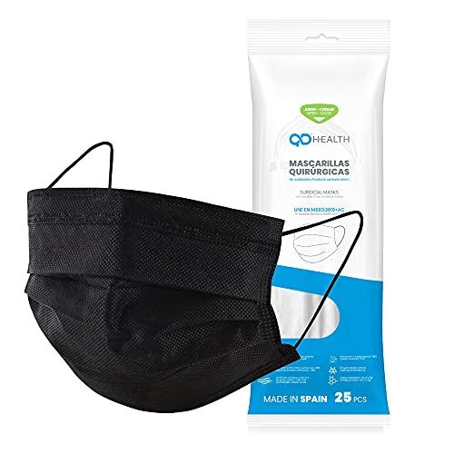QD HEALTH Mascarillas quirúrgicas Fabricadas en España - Color negro - Tipo IIR - No reutilizables...