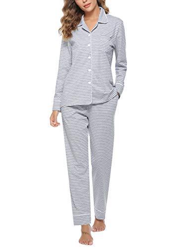 Hawiton Pijamas Mujer Invierno de Algodón Mangas Larga Conjunto Camiseta y Pantalones Largo Ropa de...