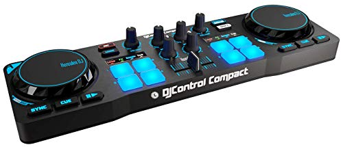 Hercules - DJCONTROL Compact - Controlador DJ - PC/Mac - Tamaño Compacto - Ligero