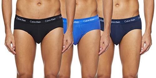Calvin Klein 3 Pack Briefs-Cotton Stretch Slips, Azul (Black/Blue Shadow/Cobalt Water DTM WB 4Ku),...