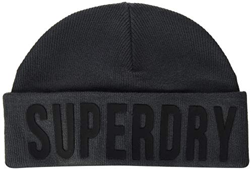 Superdry Surplus Silicone Logo Beanie Conjunto de Accesorios de Invierno, Carbón excedente, OS para...