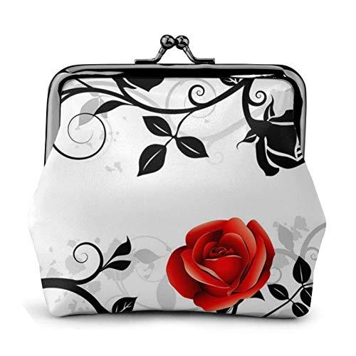 Floral Rose Hiedra con hojas Primavera Impreso Mini Monedero Cuero Pu Cartera Bolsa de Embrague con...