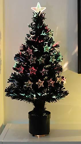 Christmas Concepts 32 Pulgadas Negro Fibra óptica árbol de Navidad con Estrellas