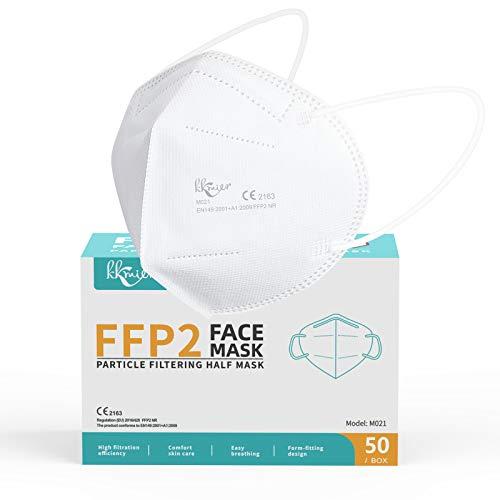 KKmier Mascarillas FFP2 Homologadas, Mascarilla (50 Pack) ffp2 con Pendientes Elásticos y Clip...