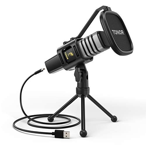 Micrófono USB de Condensador TONOR para Ordenadores PC, Micrófono con Soporte de Trípode, Filtro...