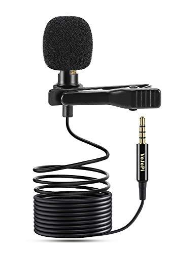 VoJoPi Microfono Solapa, Omnidireccional Lavalier Micrófono de Condensador, Microfono Movil para...