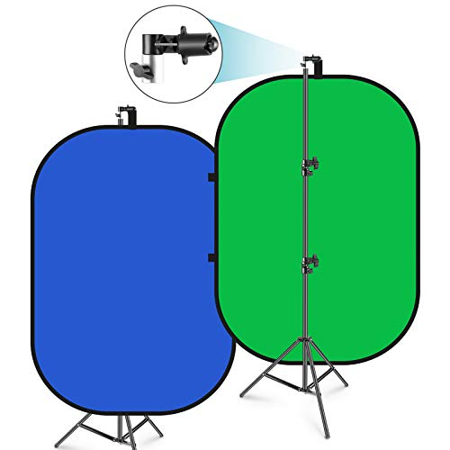 Neewer 150x200cm Chromakey Telón de Fondo Plegable Azul-Verde con Soporte Kit: 2 en 1 Fondo...