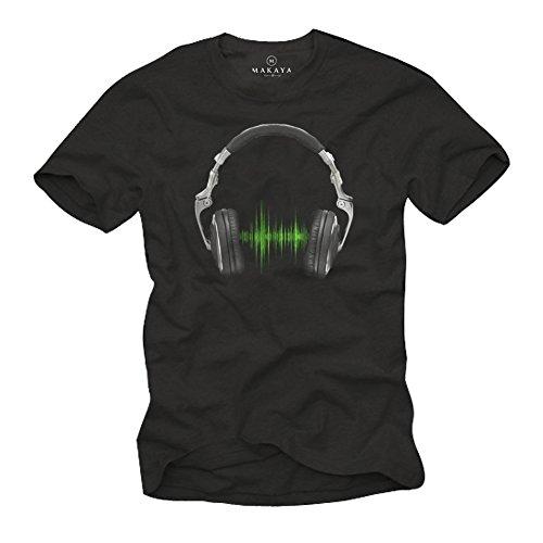 Camiseta Musica Hip Hop - Auriculares Hombre Negra M