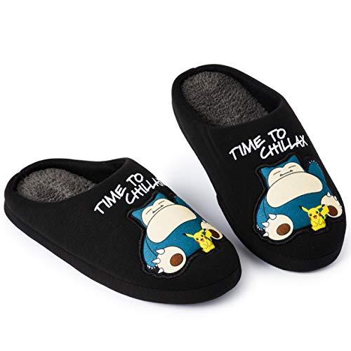 Pokemon Zapatillas de Estar En Casa Hombre Diseño Snorlax y Pikachu, Merchandising Oficial Pokemon,...