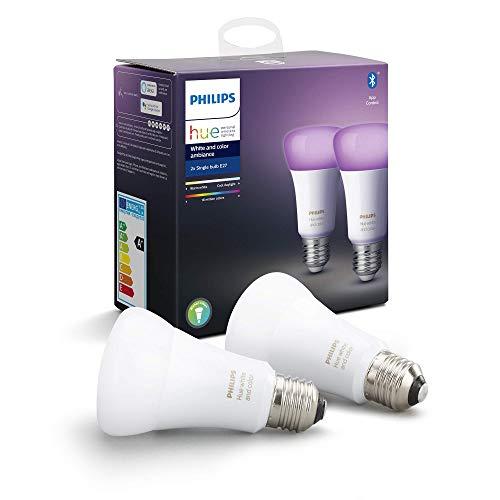 Philips Hue Pack de 2 Bombillas Inteligentes LED E27, con Bluetooth, Luz Blanca y Color, Compatible...