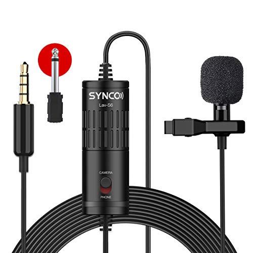 SYNCO Lav S6 Microfono-Solapa-Microfono-Lavalier-Condensador Omnidireccional 6M, Micrófono de...