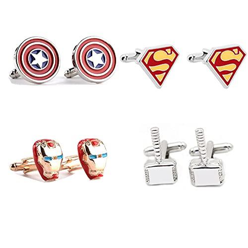 4 Pares de Superhéroes Vengadores Iron Man Clips Camisa de Corbata Cufflinks