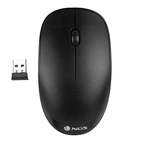 NGS FOG BLACK - Ratón Óptico Inalámbrico 2.4GHz, Ratón para Ordenador o Laptop Con 2 Botones y...