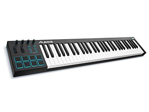 Alesis V61 - Teclado controlador USB-MIDI de 61 teclas con 8 pads sensibles retroiluminadas, 4...