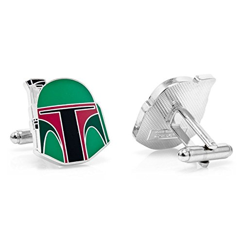 Gemelos - Chapado de Star Wars Boba Fett Casco Cuff Links - camisa de hombre en caja de regalo...