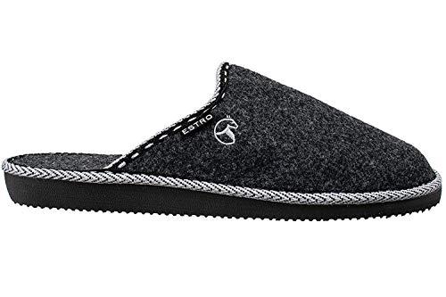 ESTRO Zapatillas De Casa Hombre Zapatillas Fieltro Pantuflas Casa Hombre F14 (40 EU, Negro)